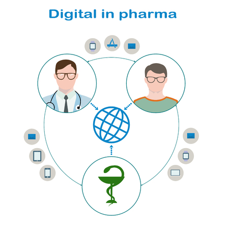 doctor tablet: Interaction of the patient with glasses and a sweater, a doctor in glasses with phonendoscope and pharmaceutical companies through Digital. Icons mail, applications, smart watch, tablet, phone, laptop Illustration