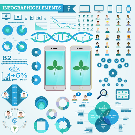 doctor care: Infographic elements, doctor and patient icons, diagrams. Digital marketing in pharmaceutical company