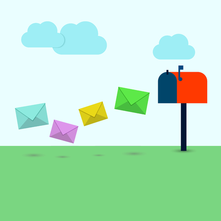 correspond: Letters in colorful envelopes flying in the mailbox on the street. Mail delivery in flat style. Illustration