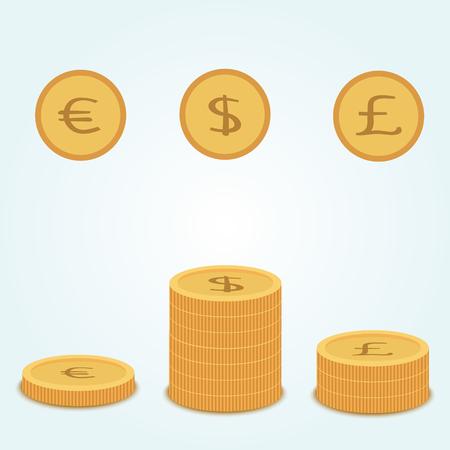 golden coins: Golden coins, dollar, euro, pound. Stacks of golden coins.