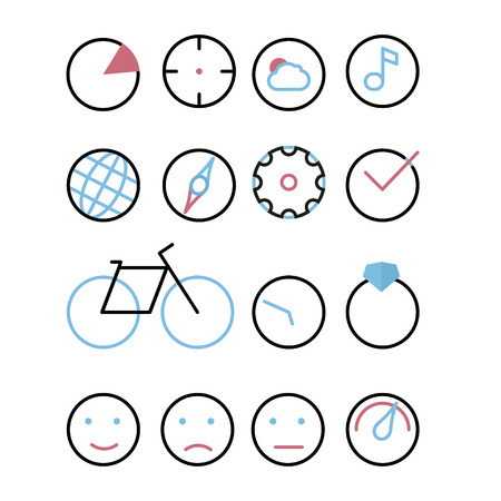 neutrality: Icons with element - circle. Chart, sight, cloud and sun, music, earth, compass, cog, tick, bicycle, watch, ring with Briliant, emoticons (joy, sadness, neutrality), speedometer