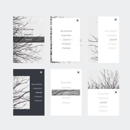 stylesheet: Minimalistic hipster UI Kit for designing responsive websites, mobile apps & user interface. Branch tree background. Monochrome. Illustration