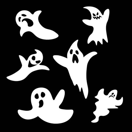 haunt: Set of six cartoon ghosts: scared and angry Illustration