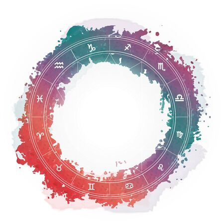 Zodiac wheel monochrome, horoscope chart Illustration