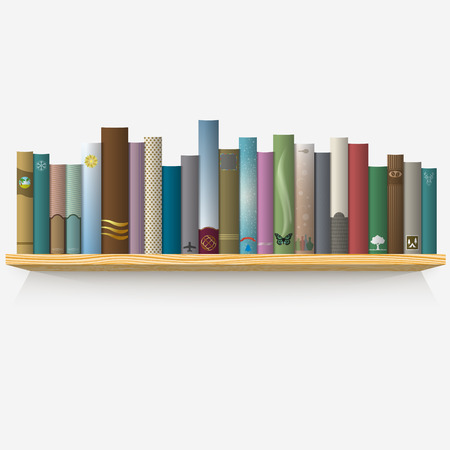 wooden shelf: Realistic books on wooden shelf.