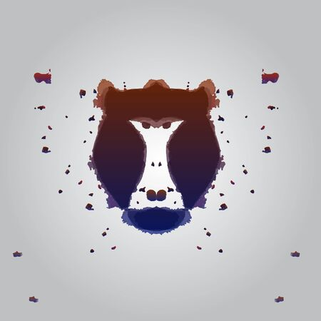 baboon: Black aggressive head of baboon, monkey in style of Rorschach test