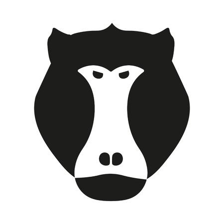 baboon: Black aggressive head of baboon, monkey in vector