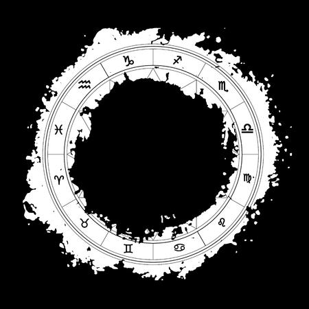 libra zodiac: Zodiac wheel monochrome, horoscope chart Illustration