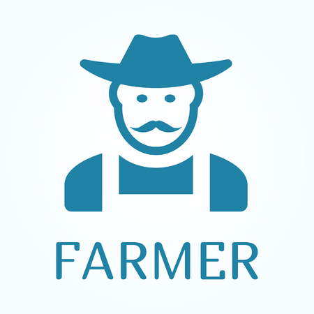 Icon or sign of farmer in flat style.