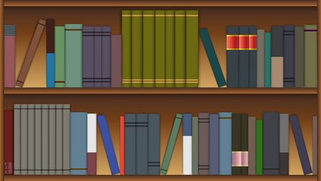 wooden shelves: Wooden shelves with colorful books in flat style.