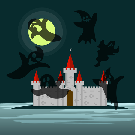 him: Old castle in the night and six ghosts around him Illustration
