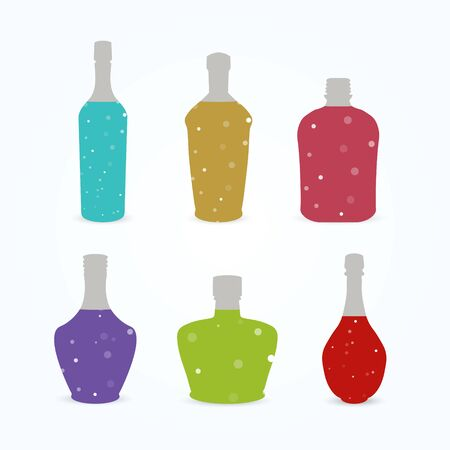 gulp: Different bottles with colorful sparkling liquid.