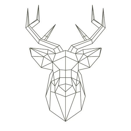Veelhoekige hoofd van herten Stock Illustratie