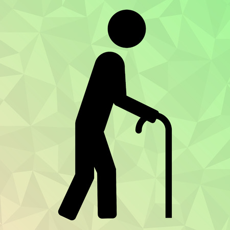 oldman: Icon oldman with cane on polygonal background. Illustration