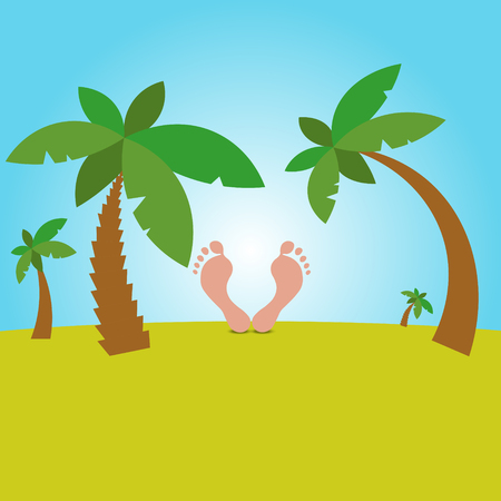 man looking at sky: Cartoon Illustration of male feet resting on the background of the beach and Sky with palm trees.