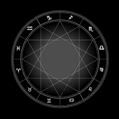 Zodiac wheel monochrome, horoscope chart.