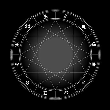 Zodiac wheel monochrome, horoscope chart.