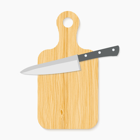Realistic wooden cutting board and knife.