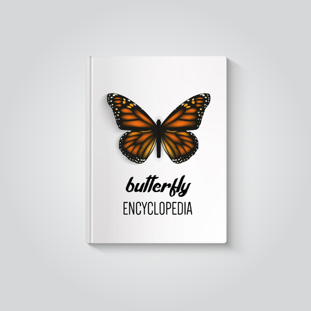 hardcover: Hardcover of book butterfly encyclopedia. Illustration