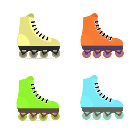 skating fun: Roller skates in flat style