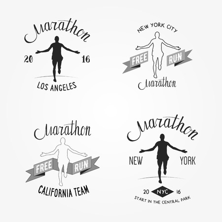 long distance: Set of marathon logotypes, long distance running and competition. Set of run club logos. Running man silhouette. Illustration