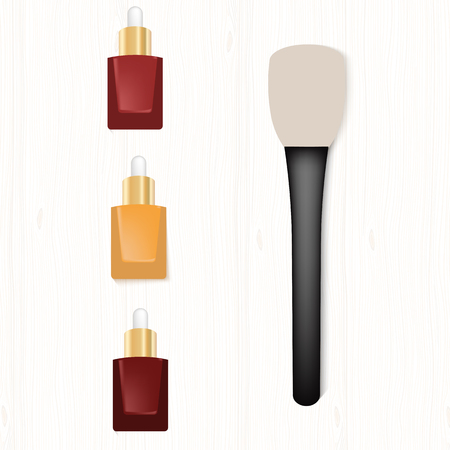 toiletry: Set of realistic bottles of serum and brush for foundation on white wooden table. Illustration