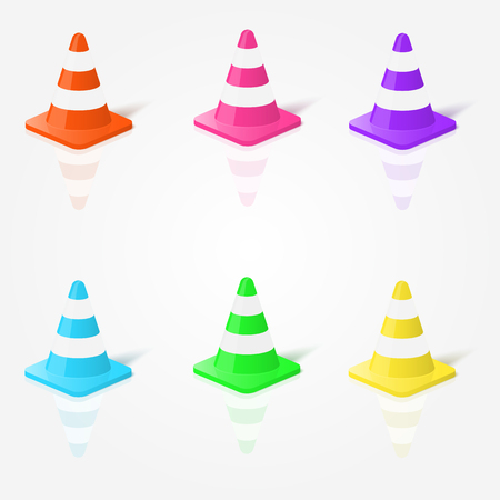 traffic   cones: Realistic traffic cones in vector in different colors.