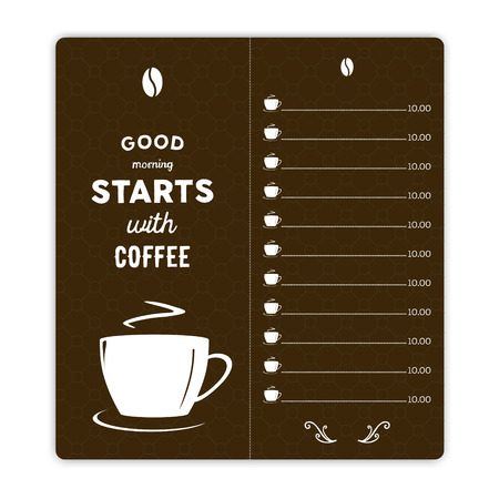 hand written: Coffee card with coffee cup on brown background and hand written quote Good morning starts with coffee Illustration