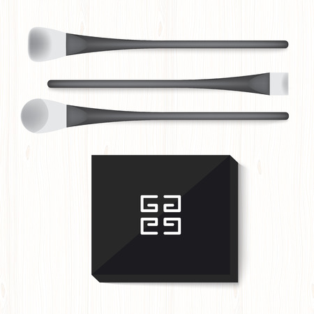 pomade: Set of two black and white brushes and powder on white wooden table. Illustration