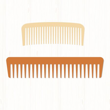 comb hair: Two wooden comb hair: pale and dark. Hairbrushes on white wooden table.