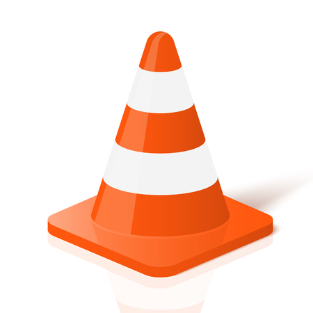 Realistic traffic cone in vector.