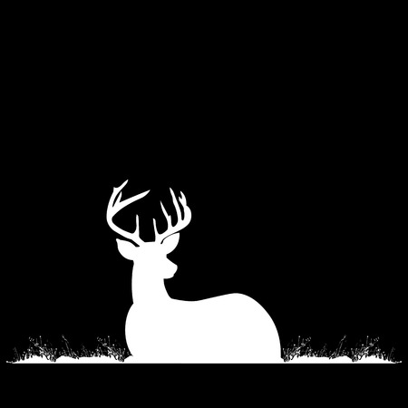 antlers: Silhouette of deer with antlers on the grass. Illustration