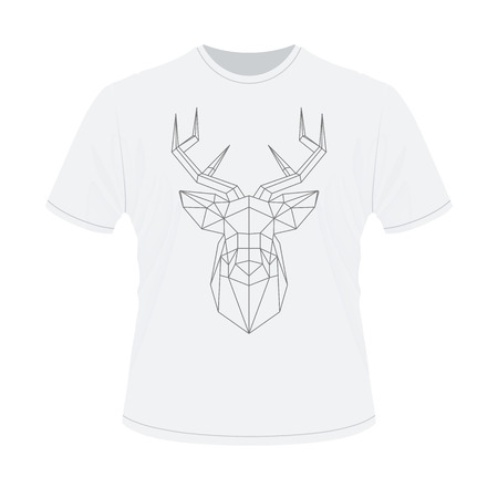 head shape: White t-shirt with polygonal haed of deer.