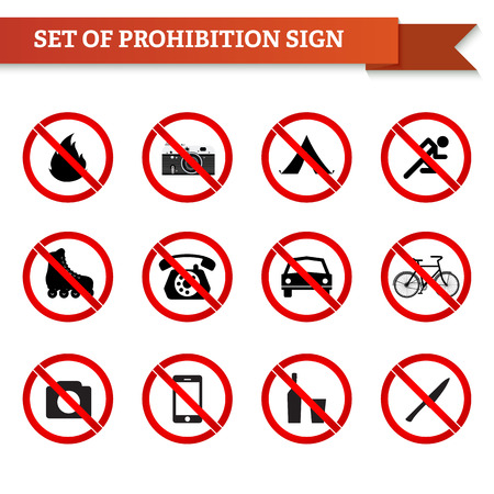 forewarning: Set of prohibition signs in red circle.