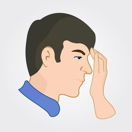 headache man: Man of european appearance feels headache and touching forehead. Illustration