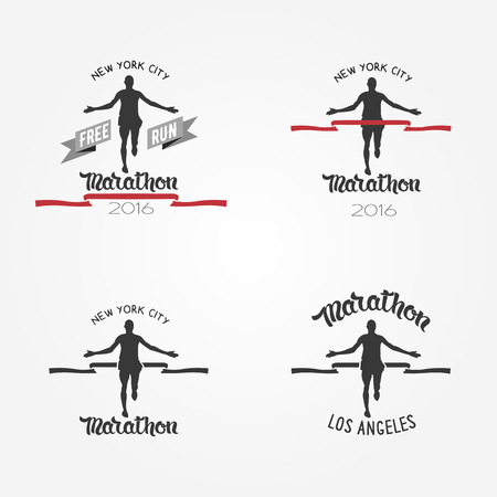 marathon runner: Set of marathon logotypes, long distance running and competition. Set of run club logos. Running man silhouette crossing the finish red tape.