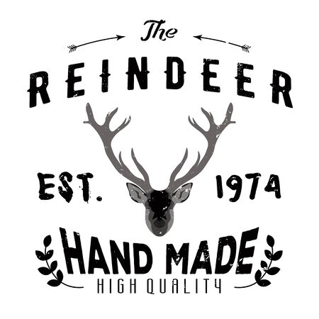 authentic: Authentic hipster logotype with reindeer and arrows.