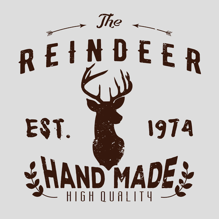 reindeer silhouette: Authentic hipster logotype with reindeer and arrows.