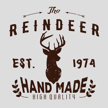 renna: logotipo pantaloni a vita bassa autentico con le renne e le frecce.