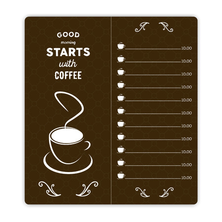 Coffee Card With Coffee Cup On Brown Background And Hand Written Quote Good  Morning Starts With