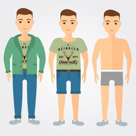 slip homme: Man tenues sous-v�tements, d�contract� et le sport dans le style plat.