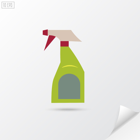 disinfect: Spray bottle in flat style. Disinfect spray