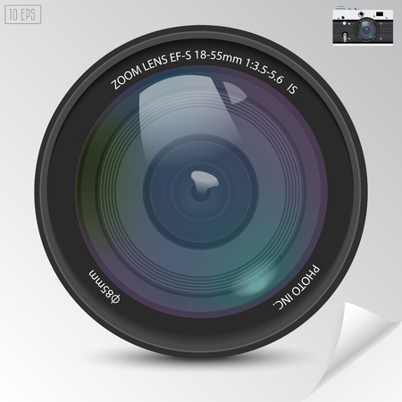 lens: Realistic camera photo lens with shadows. Illustration