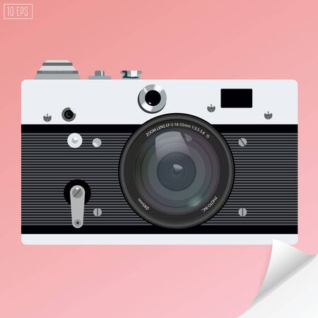 old photo: Old photo camera for icon with realistic lens .