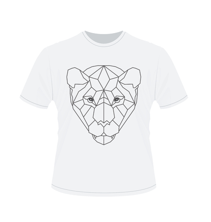 anger abstract: Polygonal head of tiger on white t-shirt