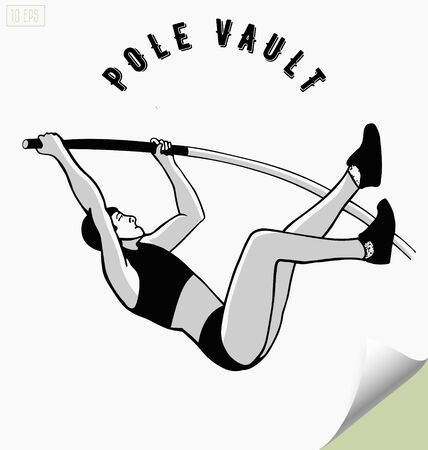 pole vault: Hand drawn pole vault athlete jumping.