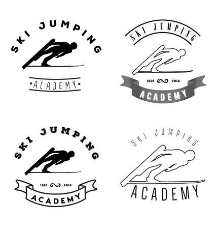 ski jump: Set of icon with jumping skier silhouette. Illustration