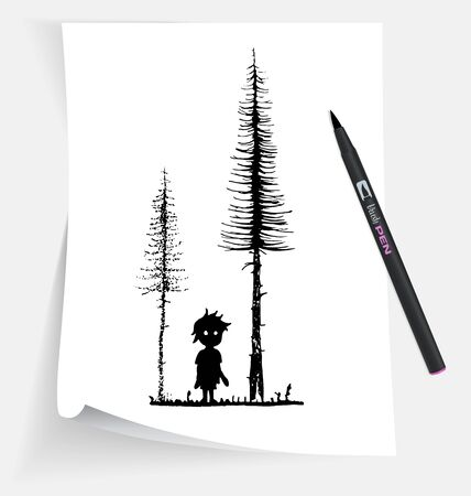 Illustration of the little boy in forest at night.