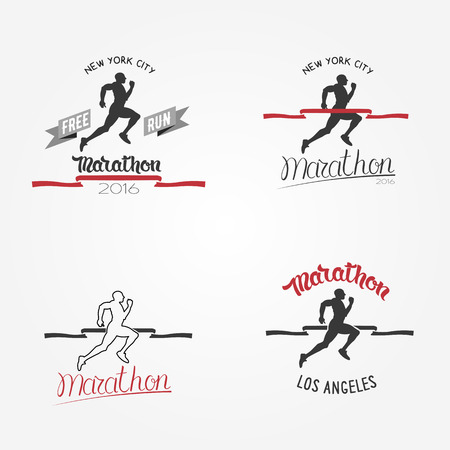 red tape: Set of marathon icon, long distance running and competition.  Running man silhouette crossing the finish red tape.