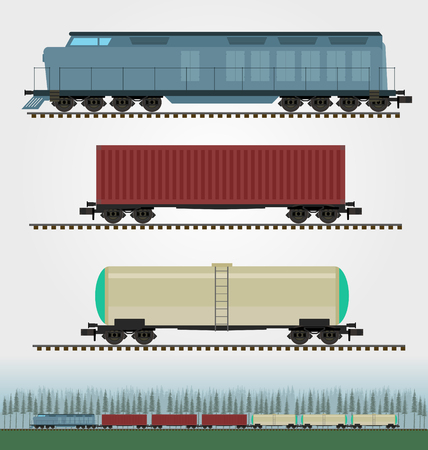 wagon: Set of freight train cargo cars. Container, tank, hopper and box freight train cars. Logistics heavy railway transport design elements. Flat style